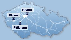 mapa �R s vyzna�en�m provozoven firmy - P��bram, Plze�, Praha